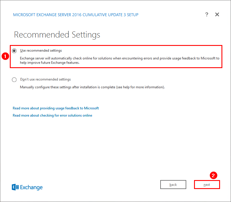 Install Exchange Server 2016 Recommended Settings
