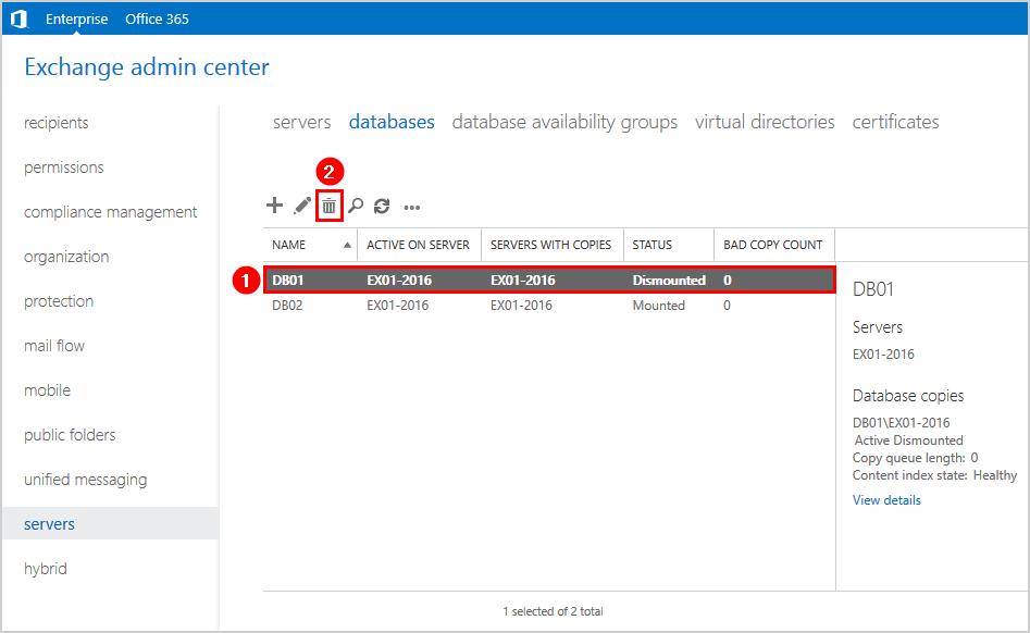 Cannot delete mailbox database Exchange 2016 delete mailbox database