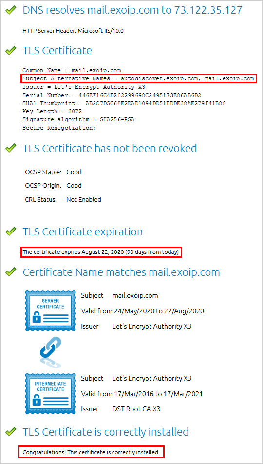 Check Lets Encrypt certificate status in Exchange Server DigiCert