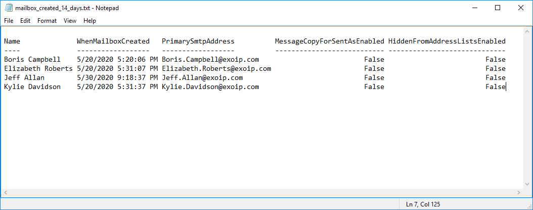 Check mailbox creation date in Exchange Server export txt