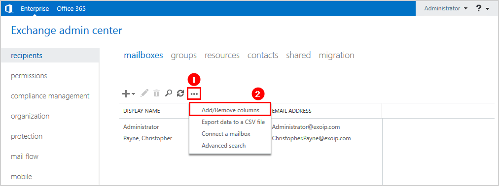 Create user mailbox in Exchange 2016 add column