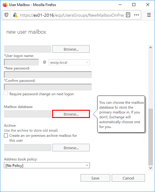 Create user mailbox in Exchange 2016 browse mailbox database