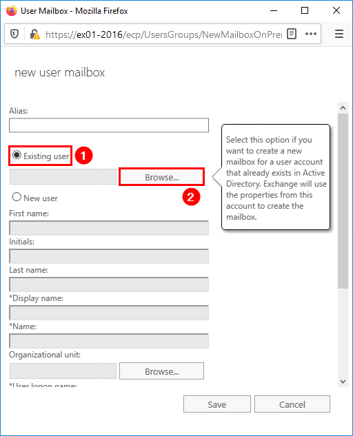 Create user mailbox in Exchange 2016 existing user