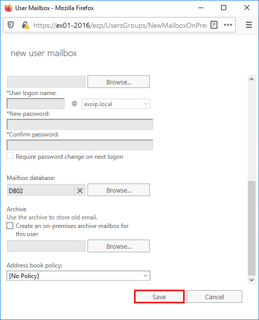 Create user mailbox in Exchange 2016 finish