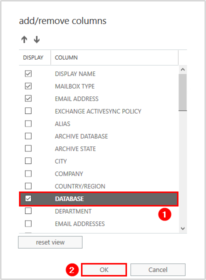 Add database column in Exchange Admin Center