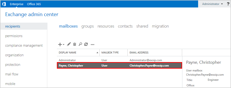 Create user mailbox in Exchange 2016 user mailbox created