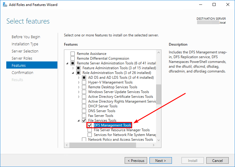 DFSRDIAG POLLAD is not recognized install DFS Management Tools