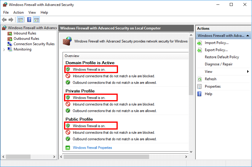 Enable Windows Firewall with PowerShell Windows Firewall is on