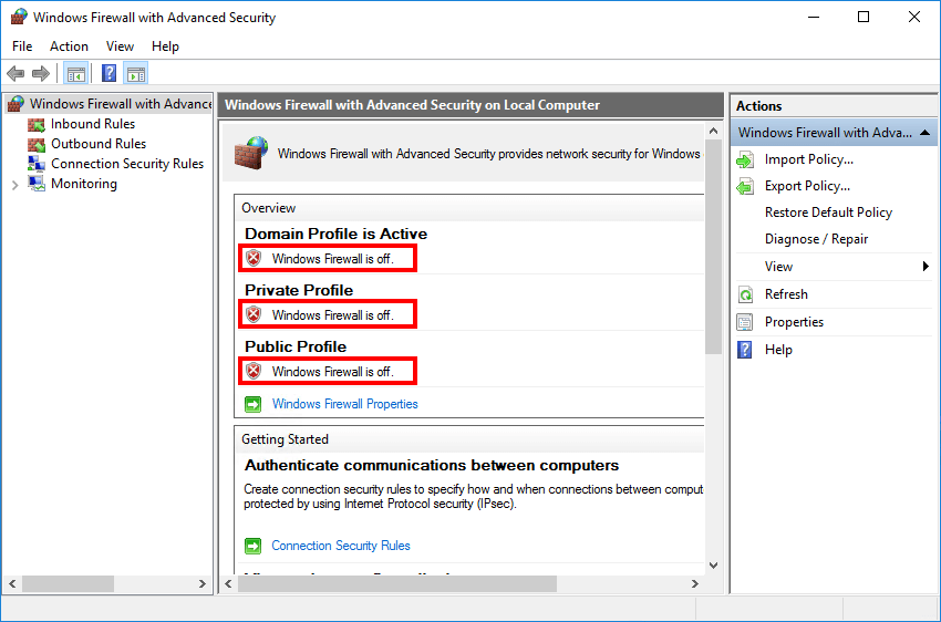 Enable Windows Firewall with PowerShell Windows Firewall is off