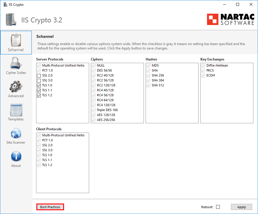 Exchange 2016 OWA your connection is not secure IIS Crypto main