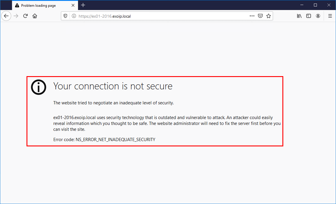 Exchange 2016 OWA your connection is not secure browser
