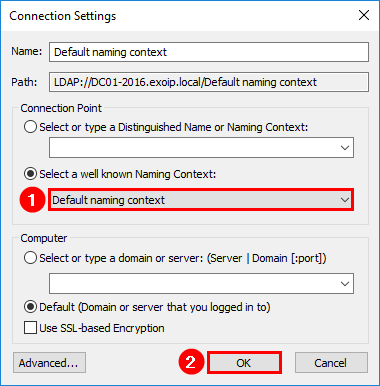 Exchange database is mandatory on UserMailbox ADSI Edit default naming context