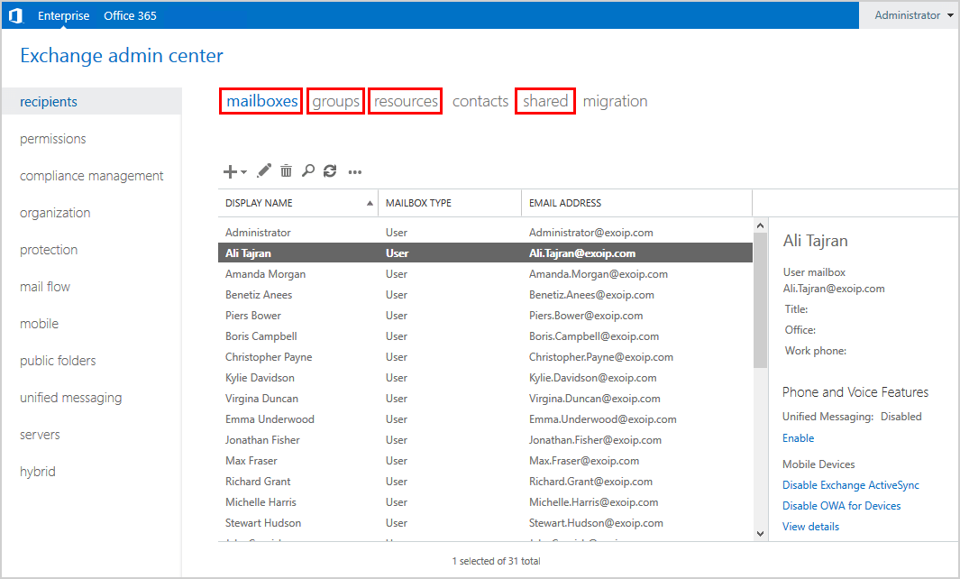 Export mailbox permissions to CSV file EAC mailboxes