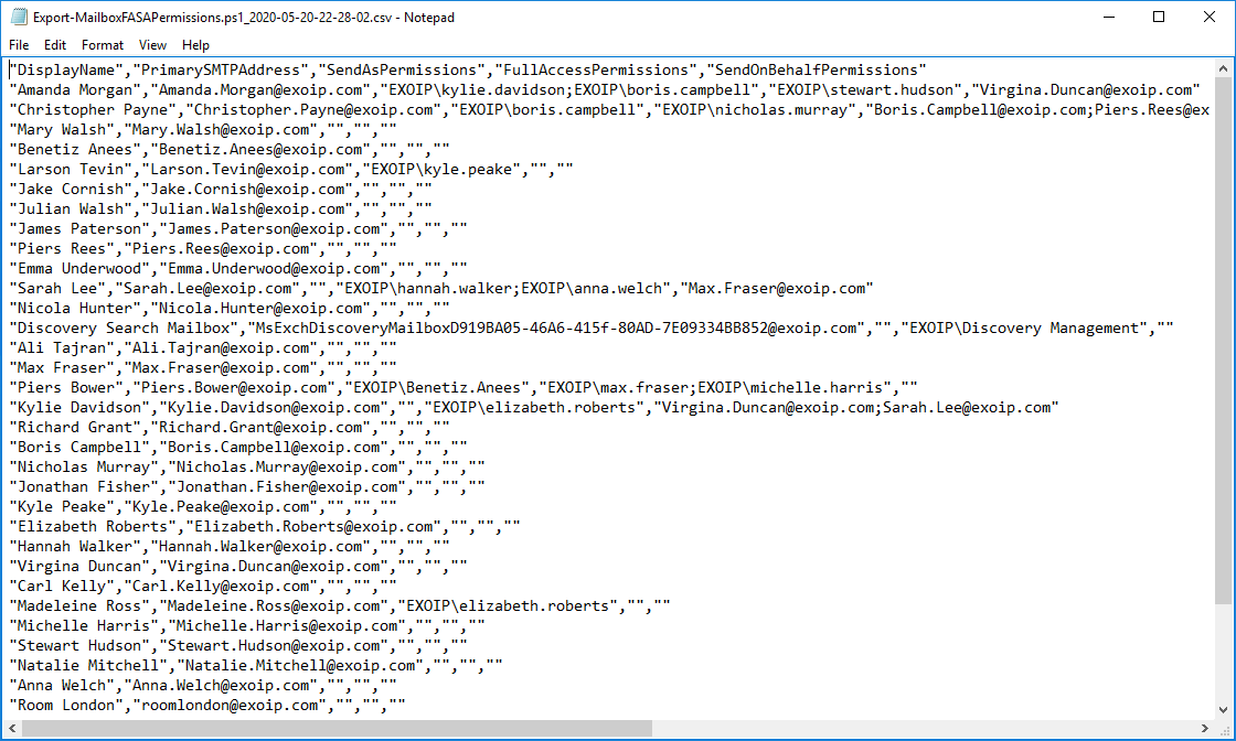 Export mailbox permissions to CSV file output text