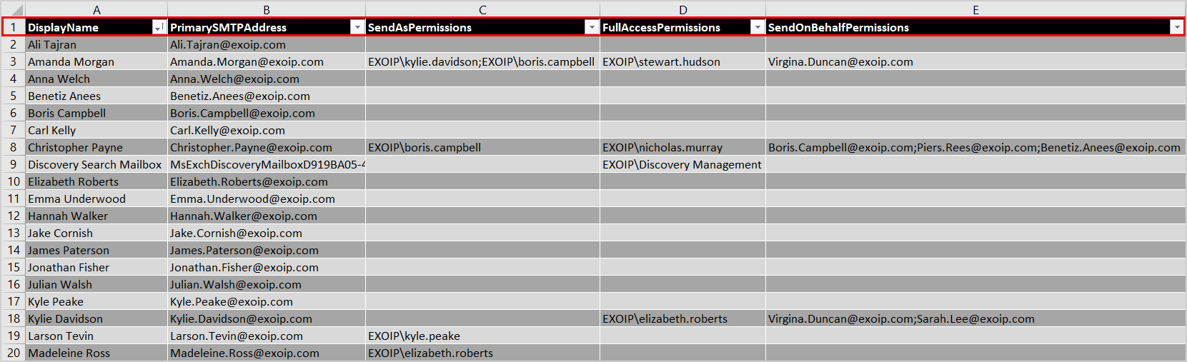 Export mailbox permissions to CSV file scripts folder CSV file