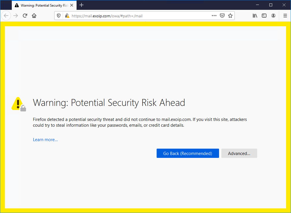 Install FREE Lets Encrypt certificate in Exchange Server firefox certificate risk