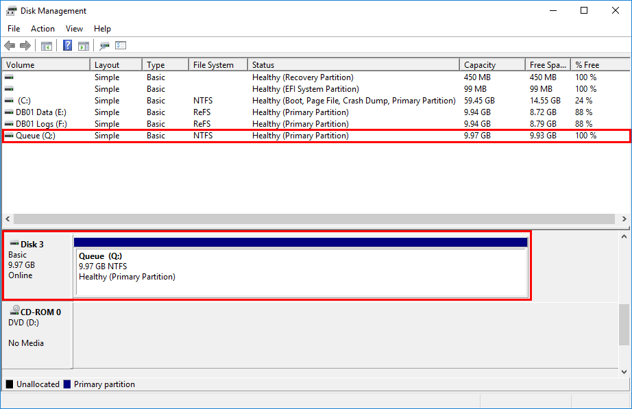 Create disk drive before move transport database Exchange