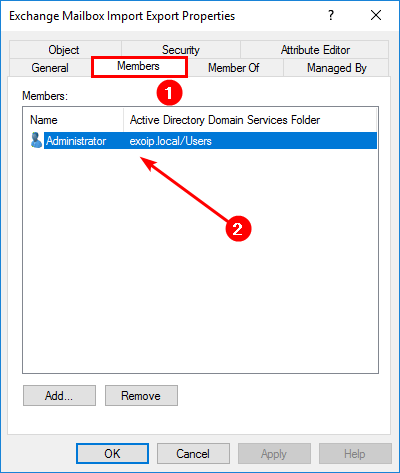 New-MailboxExportRequest is not recognized in Exchange Server security group members admin