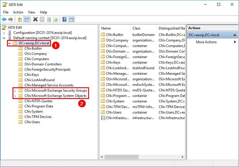 Remove Exchange Server from Active Directory ADSI Edit remove Exchange groups and objects