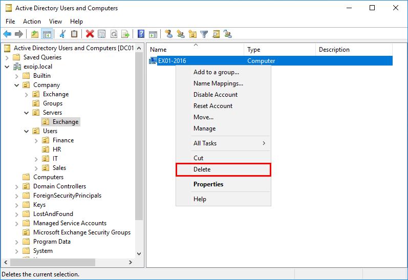 Remove Exchange Server from Active Directory ADUC remove Exchange computer