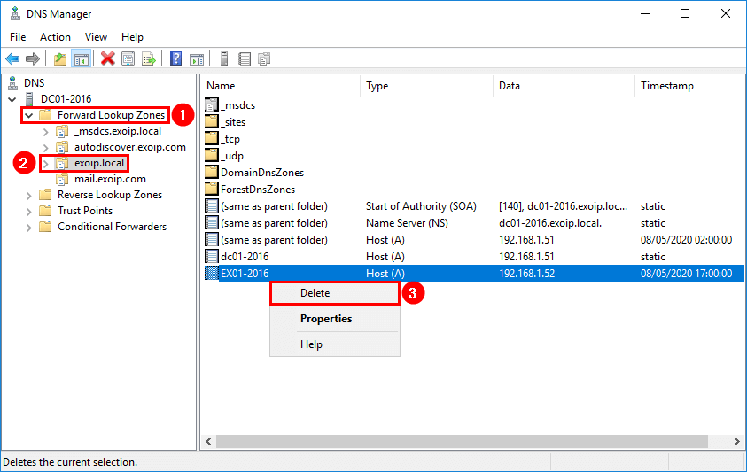Remove Exchange Server from Active Directory DNS remove record