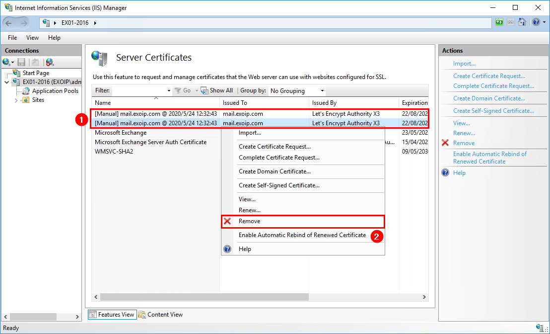 Remove Lets Encrypt certificate in Windows Server IIS certificates