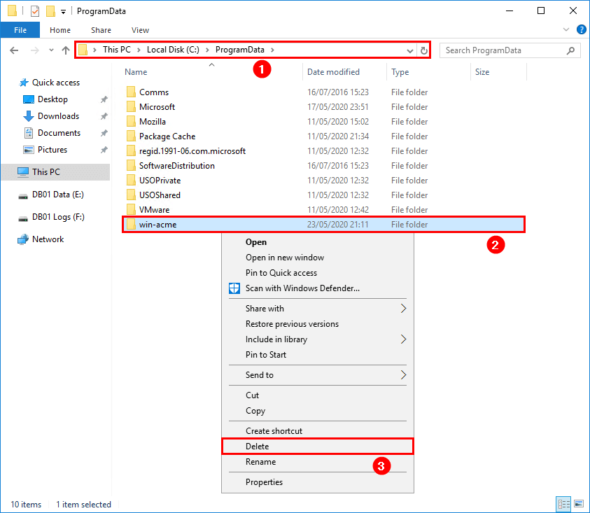 Remove Let's Encrypt certificate in Windows Server program data
