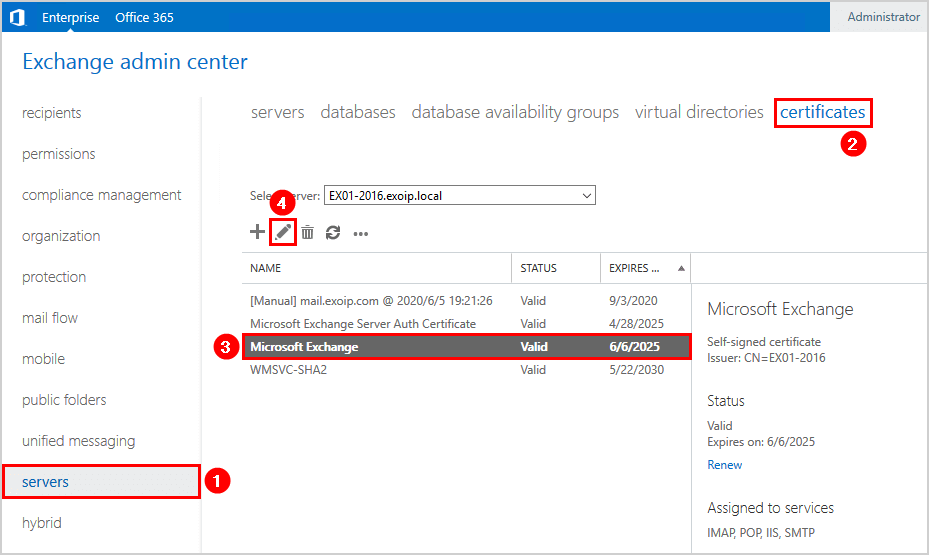 A special Rpc error occurs on server certificate edit new certificate