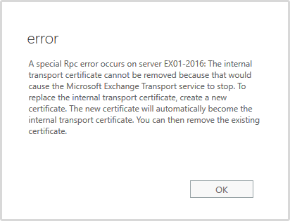 A special Rpc error occurs on server error