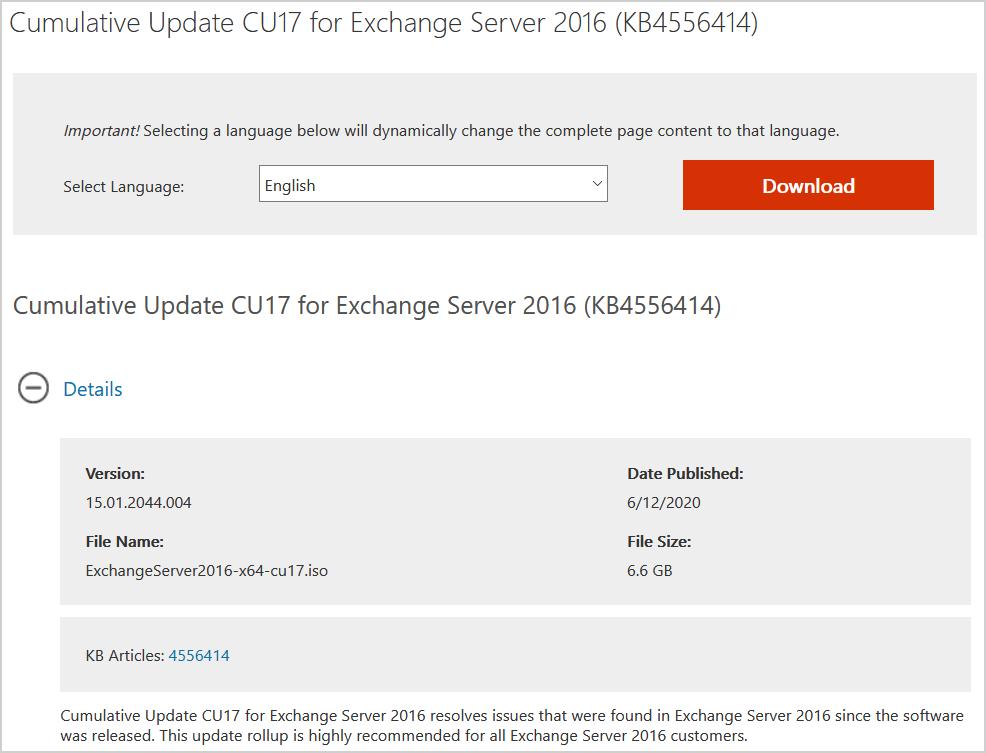 Cumulative Update 17 for Exchange Server 2016 download