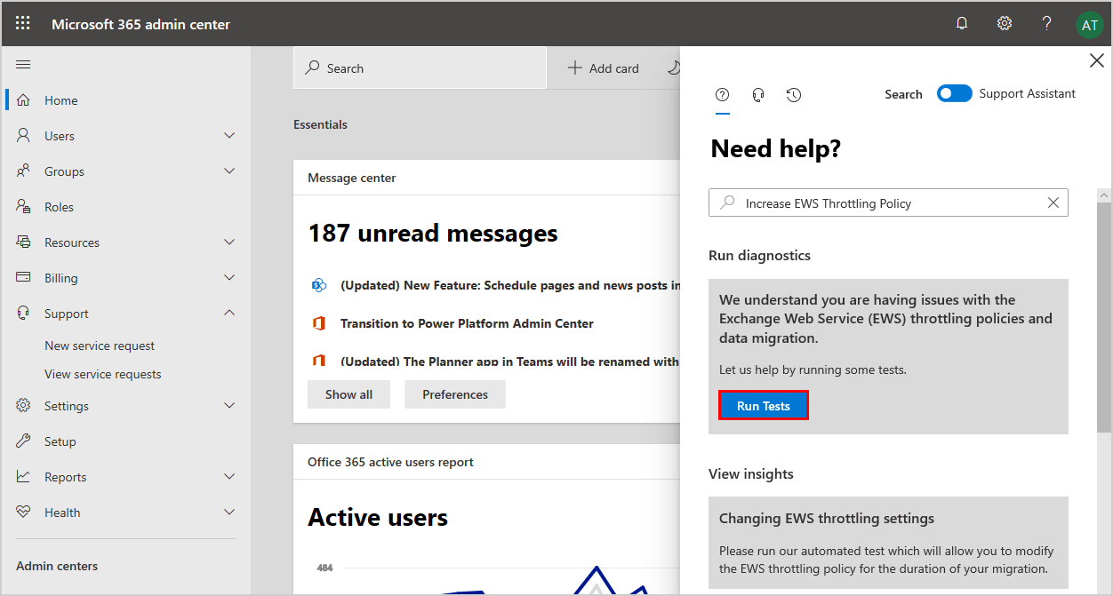 Disable EWS throttling in Office 365 run tests