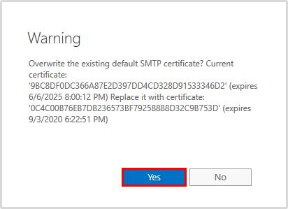 Import certificate in Exchange 2016 warning certificate overwrite