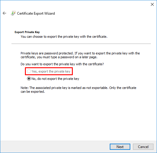 Lets Encrypt export certificate private key not exportable