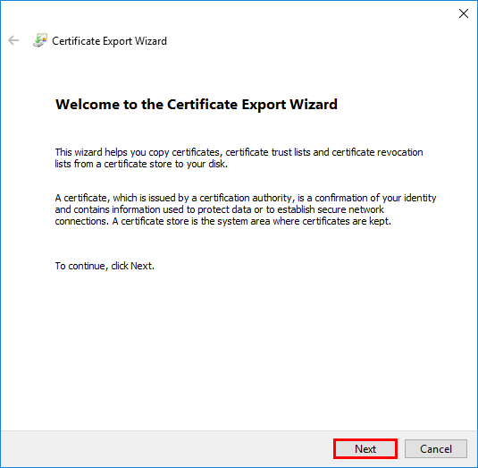 Lets Encrypt export certificate private key welcome export wizard
