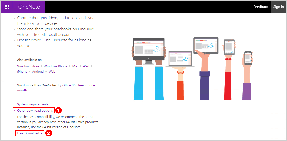 OneNote is missing from Office 365 and Office 2019 download OneNote 64-bit version
