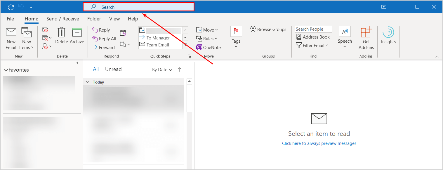 Outlook new search box position