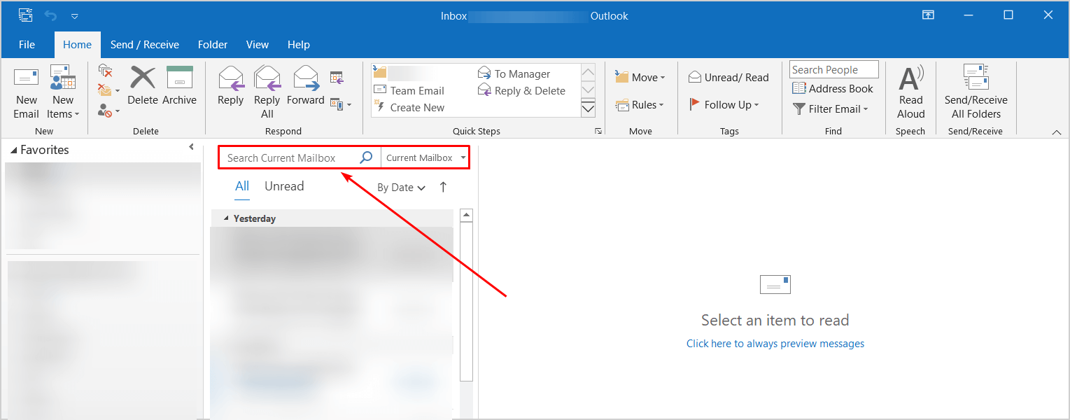 Outlook old search box position before