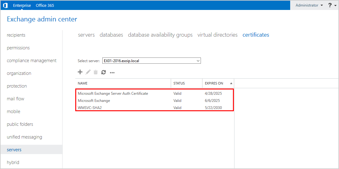 Remove Exchange certificate in Exchange Admin Center certificate removed