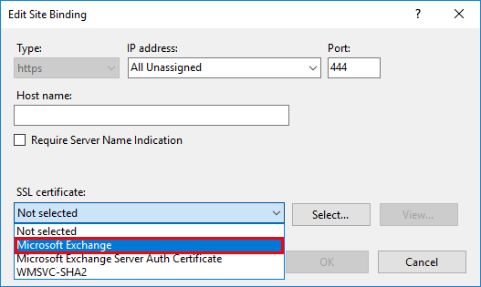 Server Error in owa Application select certificate port 444