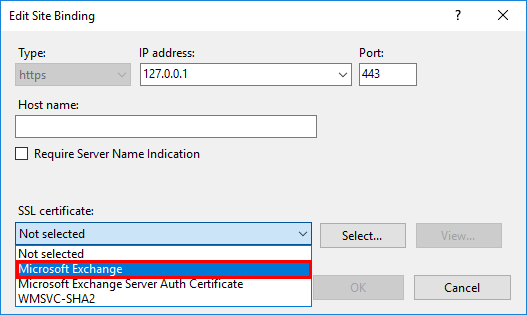 Server Error in owa Application select certificate