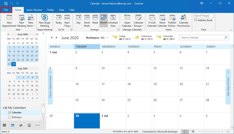 Show week number in Outlook calendar file
