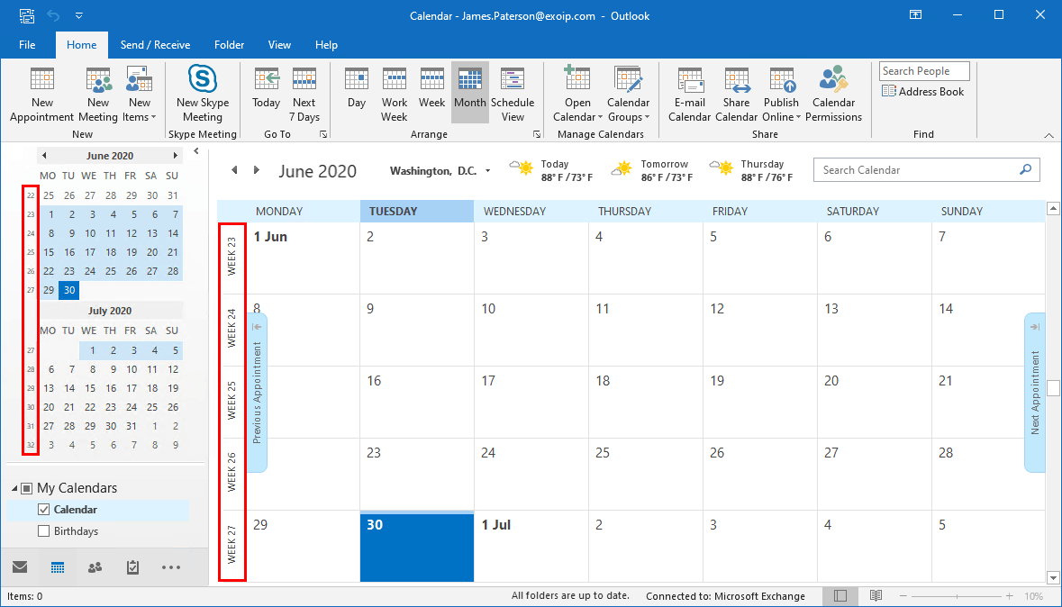 Show week number in Outlook calendar showing week numbers