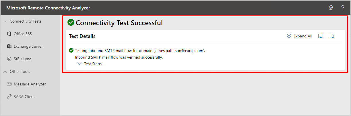 Test inbound mail flow in Exchange Server 2016 connectivity test successful