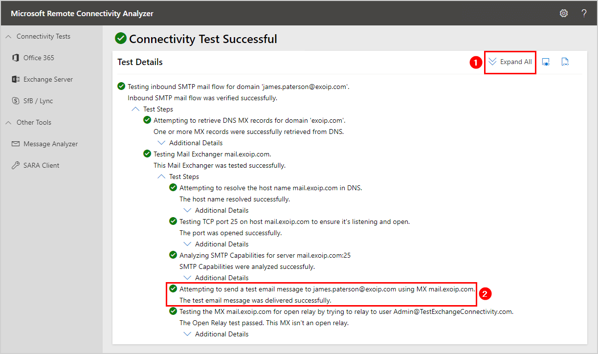 Test inbound mail flow in Exchange Server 2016 expand all