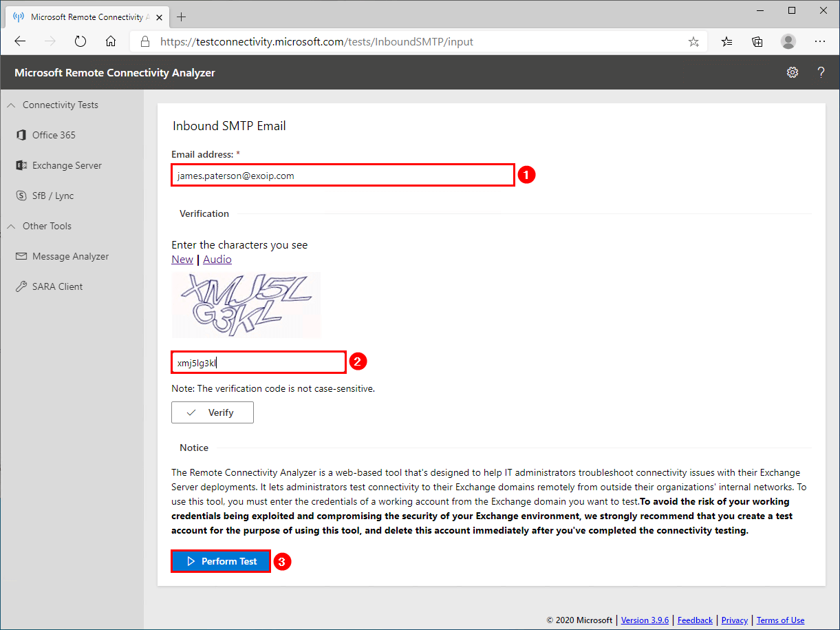 Test inbound mail flow in Exchange Server 2016 inbound SMTP email test