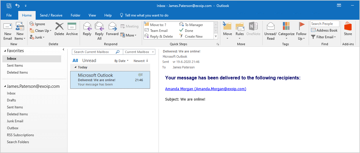 Test internal mail flow in Exchange Server 2016 message delivered
