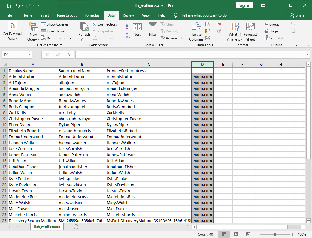 Add email address to list of names in Excel delete column