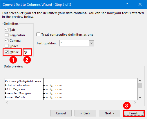 Add email address to list of names in Excel delimiters other