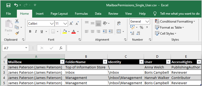 Export mailbox folder permissions to CSV file Excel