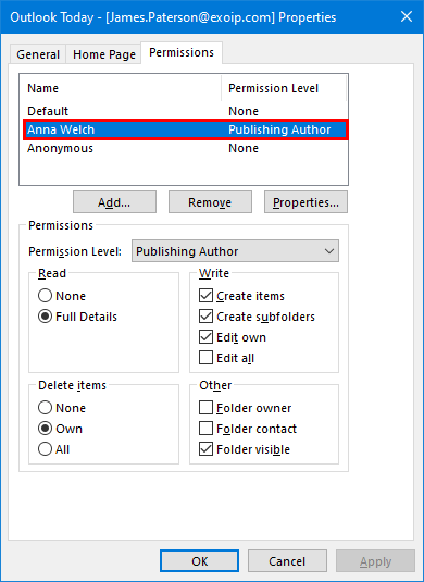 Export mailbox folder permissions to CSV file top folder permissions publishing author